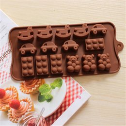 fondant car cake UK - Cake chocolate Mold horse car bear shoes shape Muffin Sweet Candy Jelly fondant Molds Silicone tool Ice mould Baking