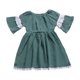 $enCountryForm.capitalKeyWord UK - Girls Dress INS 2019 Summer Baby Solid Color Lace Short Sleeves Pleated Skirt Child Kids Beach Dress Girl Princess Dress Q54