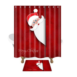 $enCountryForm.capitalKeyWord Australia - Merry Christmas Bath Mat Curtain Santa Claus Waterproof Bath Shower Curtain Christmas Decorations for Home Xmas Decor Bathroom Products