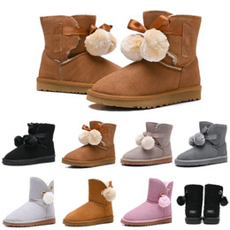Round bow online shopping - Designer Women Boots Australia Classic Bailey Hairball Bow Tie Snow Booties Ankle Knee Girls Ladies Fashion Winter Boot Drop Shipping