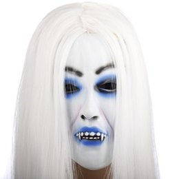 Back Hair Men Australia - Yeduo Horrible Toothy White Long Hair Ghost Face Latex Soft Mask Halloween Party Prop Costume Mus