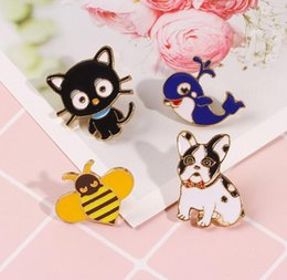 $enCountryForm.capitalKeyWord NZ - New cute cartoon black cat Whale bee enemal animal pin brooches metal pet pins Badge button Denim Jackets pin jeans jewelry accessory 167