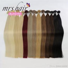 "MRSHAIR 1g pc 16"" 20"" 24"" Remy Nail U Tip Hair Extensions Straight Pre Bonded Hair On Keratin Capsules Hot Fusion Hair 50pcs"