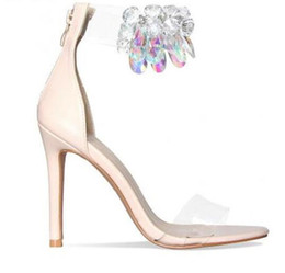 ea67fd8558ca Rose Gold Nude Leather High Heels Sandals Transparent PVC Ankle Strap Women  Pumps Clear Crystal Thin Heels Women Shoes