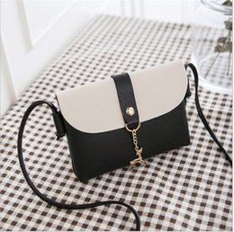 Color Leather Bags Australia - NEW Fashion Phone Bags PU Leather Two-tone Color Deer Pendant Shoulder Bags for girl Travel Bag Free shipping