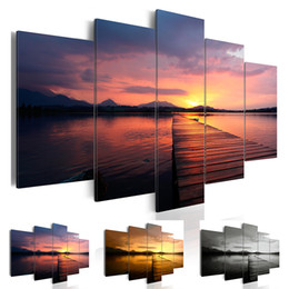 $enCountryForm.capitalKeyWord Australia - 5 Panel Modern Printed Sea Sunset Landscape Painting Picture Cuadros Canvas Art Seascape Painting for Living Room No Frame Gift Oil Picture