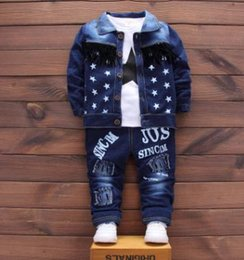 $enCountryForm.capitalKeyWord Australia - Children's Set 2018 Spring Autumn New Stylish Denim Boys Clothing 3Pcs Set Kids Clothes Baby Suits for 1 2 3 4 Year QHQ011