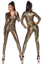 wet look bodysuit 2019 - Jumpsuit Latex Catsuit Nightclub Costumes Bodysuit Fetish Sexy Linegerie Leather Game Uniforms Black Wet Look Snake chea