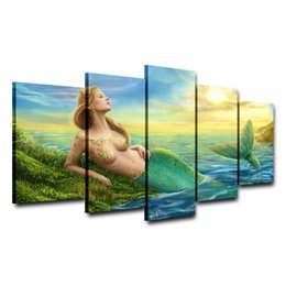 Mermaid Print Canvas Australia - Mermaid Girl,5 Pieces Home Decor HD Printed Modern Art Painting on Canvas (Unframed Framed)