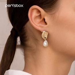 Freshwater pearl drop earrings online shopping - Peri sbox Baroque Hanging Freshwater Pearls Earrings for Women Asymmetric Dangle Earrings Unique Drop Small Statement