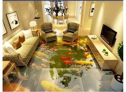 $enCountryForm.capitalKeyWord NZ - customized 3D self-adhesive floor painting wall paper 3D ultra-real Chinese style floor koi carp waterproof floor stickers
