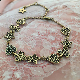 Pointed bracelets online shopping - designer jewelry heart charm bracelets five pointed stars butterfly charm bracelets old metal color for women hot fashion