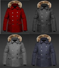 mens short double breasted coat Australia - Coat factory mens jacket KATO Peacoat Crosshatch Men's Hooded Fur Collar Zipper Closed Double-Breasted Cold Windproof Down Jacket
