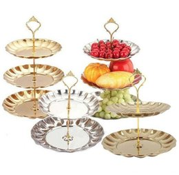 Wholesale 2 Layers Fruit Plates Stand Pastry Tray Candy Dishes Cake Desserts Stainless Steel Party Home Decoration Wedding Decorations