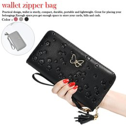 $enCountryForm.capitalKeyWord Australia - PU leather butterfly long wallet Butterfly Embossed Flower Design large capacity zipper Ladies Wallet Long Clutch Purse Fashion