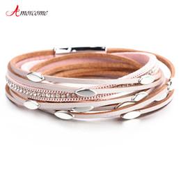617a292b29d9 Amorcome pulseras de cuero para las mujeres pulseras brazaletes hoja  encanto Boho múltiples capas Wrap pulsera Femme regalo de la joyería