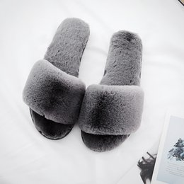 Faux Fur Booties Women Australia - Womens Fur Slippers Winter Warm Shoes Big Size Home Casual Slipper Ladies Slip On Sliders Fluffy Faux Fur Flat Size 35-40