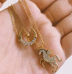 Buy Necklaces Australia - Lucky unicorn star and moon double necklace Buy for your girlfriend Free shipping