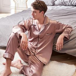 c22112f4c4 Xifenni Faux Silk Pajamas Male 2018 Autumn New Silky Ice Silk Sleepwear Man  Long-Sleeve Solid Color Pajama Sets 9002