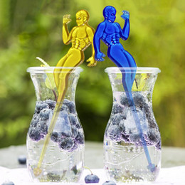 Discount swizzle stick drink stirrers Muscle Man Lady Shape Cocktail Swizzle Sticks Drink Wine Stirrer Coffee Tea Muddler Puddler Bar KTV Party Decoration ZC1