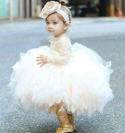 $enCountryForm.capitalKeyWord Australia - Cute Tutu Skirt Ball Gown First Cummunion Dresses Long Sleeves Tulle Lace Flower Girls Dresses For Wedding Cheap