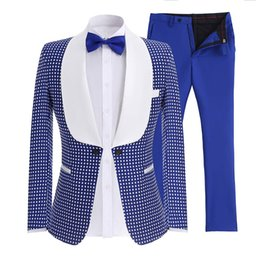 Men evening tuxedo online shopping - Mens Suits Shawl Collar Pieces Slim Fit Royal Blue Black Suit Mens Groom Jacket Tuxedos for Wedding Evening Blazer Pants Tie