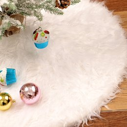 White Faux Fur Shorts Australia - Cilected 78cm 90cm 122cm Pure White Plush Christmas Tree Skirt Carpet Faux Fur Xmas Skirt 2019 New Year Home Outdoor Decor