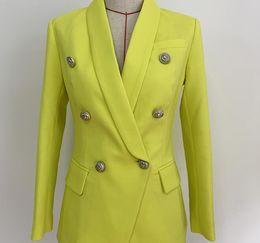 $enCountryForm.capitalKeyWord Australia - High Quality Small suit 2019 Blazer Women Silver Lion Buttons Double Breasted Fluorescence Shawl Collar Yellow Blazers Jacket J1