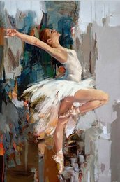 artists abstract figures NZ - Famous Mahnoor Artist Dancing Ballerina Handpainted & HD Print Oil Painting On Canvas Wall Art Home Office Deco High Quality P187