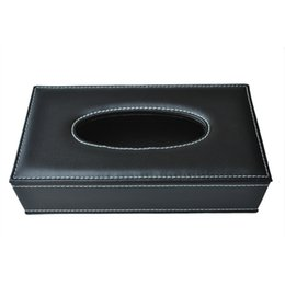 box jewelry storage organizer black Australia - Car Home Rectangle Shaped Faux Leather Case Paper Tissue Box Holder Black Kitchen Storage & Organization