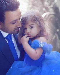 $enCountryForm.capitalKeyWord NZ - 2019 Royal Blue Princess Wedding Flower Girl Dresses Puffy Tutu Off Shoulder Sparkly Crystals Toddler Little Girls Pageant Communion Dress