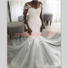 robe sizes chart NZ - Elegant Black Girl African Mermaid Wedding Dresses V-Neck Illusion Sheer Lace Plus Size Robe de mariée Bridal marriage Gowns For Bride