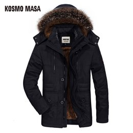 mens green parka NZ - KOSMO MASA 2018 Cotton Winter Jacket Men Warm 6XL Long Parka Hooded Jackets Man Coats Casual Fur Down Parkas Mens MP012MX190904