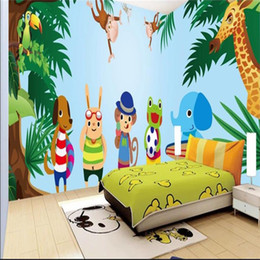 Discount forest backdrops custom size 3d photo wallpaper living room bed room kids mural cartoon forest animal games picture sofa TV backdrop wallpaper wall sticker