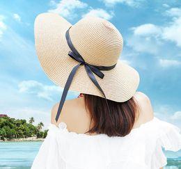 Flat Hats For Women Australia - Round Top Raffia Wide Brim Straw Hats Summer Sun Hats for Women With Leisure Beach Hats Lady Flat Gorras SN2240