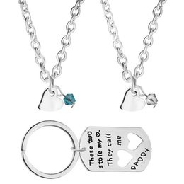 $enCountryForm.capitalKeyWord Australia - These Two Stole My Heart They Call Me Daddy dad and 2 childrens 3pcs set children's necklaces daddy's keychain Father's Day gift