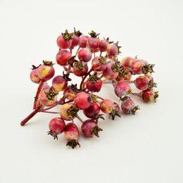 Artificial Christmas Bouquets UK - 1pcs(6-7heads) Mini Fake Cherry Fruit Berries Artificial Flowers Stamen Wedding Bouquet Christmas Decoration Foam Material C19041701