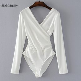 White Shorts Australia - Shemujersky Long Sleeve Bodysuit Women Backless Black Jumpsuits White Body Femme Monkeys Short Woman Q190521