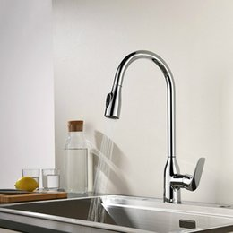 pull out spray kitchen UK - Single Handle Deck Mounted Chrome Plated Kitchen Faucet Pull Out Kitchen Sink Faucet with Two Spray Model