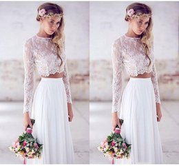 $enCountryForm.capitalKeyWord Australia - 2019 Two Pieces Crop Top Beach Bohemian Wedding Dresses Chiffon Ruched Floor Length Wedding Gowns Lace Long Sleeve Bridal Dress