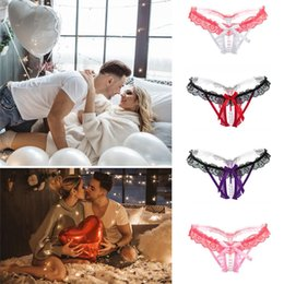 pearl massage underwear Australia - Women's Lace Butterfly Sexy Thong Lingerie Lace Bow Pearl Massage Multicolor Thong Sexy Temptation Hollow T Pants Underwear
