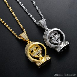 $enCountryForm.capitalKeyWord NZ - Brass CZ Hip Hop Jewelry ghost Pendants The Phantom in a Hat Necklace Men And Women Jewelry Gift CN128