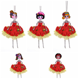 $enCountryForm.capitalKeyWord UK - 5 Style Red Flower Dress Girl Princess Fairy Doll Necklace Sweater Fabric Crafts Women Jewelry Christmas Gift Dropshipping