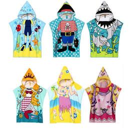 $enCountryForm.capitalKeyWord Australia - Cartoon Beachwear Bather Towel Cloak Microfiber Children Beach Towel Active Print Hooded Beach Cloak For Kids Cute Swimming Wear