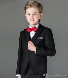 $enCountryForm.capitalKeyWord Australia - Custom Made Black Boy Tuxedos 2018 New Peak Lapel Children Suit Kid Wedding Suit Prom Suits (Jacket+Vest+Pants+Bow Tie)