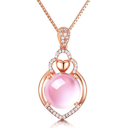 $enCountryForm.capitalKeyWord Australia - D345 New Design Amythest Pendant Necklace Fashion Women rose gold female Top Quality pink ball crystal Jewelry Free Shipping