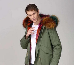 lined green army parka Australia - DHL free snow coats multicolor raccoon fur trim MEIFENG brand multicolor rabbit fur lining army green canvas mini parkas men snow jackets