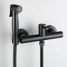 matte black faucet UK - Matte black Chrome Brass Bathroom Shower Bidet Toilet Sprayer Kit Hot And Cold Mixer Valve Taps Wall Mounted Bidets Faucet