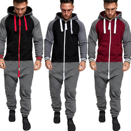 $enCountryForm.capitalKeyWord Australia - HOT Sale Men Pure Color Splicing Autumn Winter Casual Hoodie Print Zipper Print Jumpsuit sudaderas para hombre