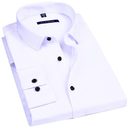 Pink Color Shirts Design Australia - Elasticity Slim Fit Men Dress Casual Long Sleeved Shirt White Black Blue Red Male Social Formal Shirt Classic Solid Color Design